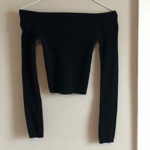 Off shoulder black crop sweater